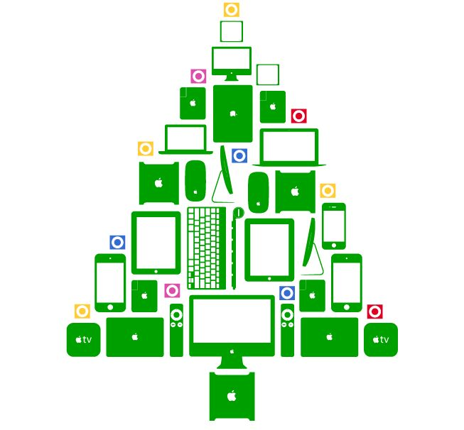 Christmas holiday tree made of apple gadgets